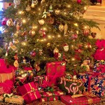 Love delivers Presents under family Christmas Tree